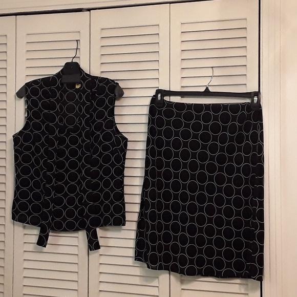 NEW YORK AND COMPANY Dresses & Skirts - NEW YORK & CO. BLACK & IVORY POKA DOT SKIRT & TOP